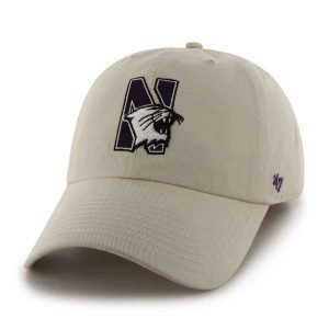 Northwestern Wildcats 47 Brand Almond Fitted Franchise Hat With N-Cat Design