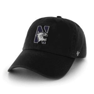 Northwestern Wildcats 47 Brand Black Fitted Franchise Hat With N-Cat Design