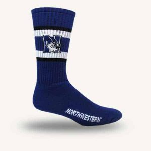 Northwestern University Wildcats Youth Purple Flat Knit Crew Socks