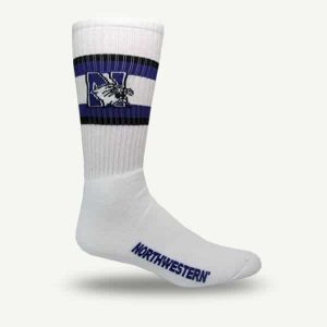 Northwestern University Wildcats Youth White Flat Knit Crew Socks