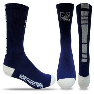 Northwestern University Wildcats Purple/White Half Cushion Crew Socks with Arch Support and N-Cat Design