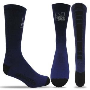 Northwestern Wildcats Purple/Black Half Cushion Crew Socks with Arch Support and N-Cat Design