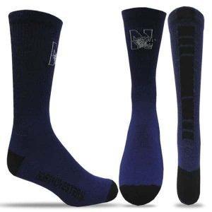 Northwestern University Wildcats Purple/Black Half Cushion Crew Socks with Arch Support and N-Cat Design