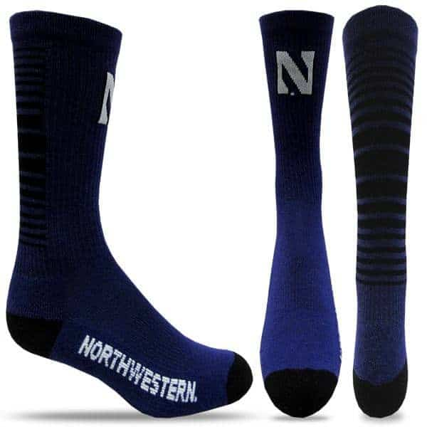 Northwestern Wildcats Purple/Black Half Cushion Crew Socks with Arch Support and Stylized N Design