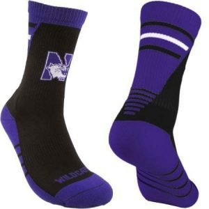 Northwestern Wildcats Black/Purple Half Cushion Crew Socks with Arch Support and N-Cat Design