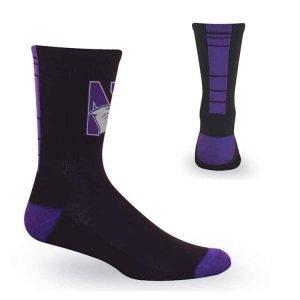 Northwestern University Wildcats Black/Purple Half Cushion Crew Socks with Arch Support and N-Cat Design