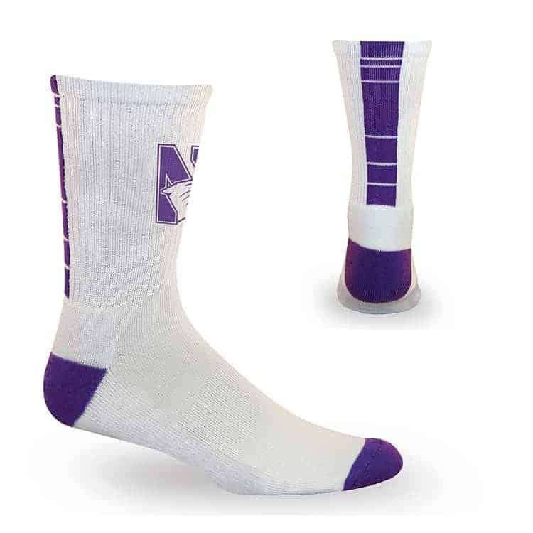 Northwestern Wildcats White/Purple Half Cushion Crew Socks with Arch Support and N-Cat Design