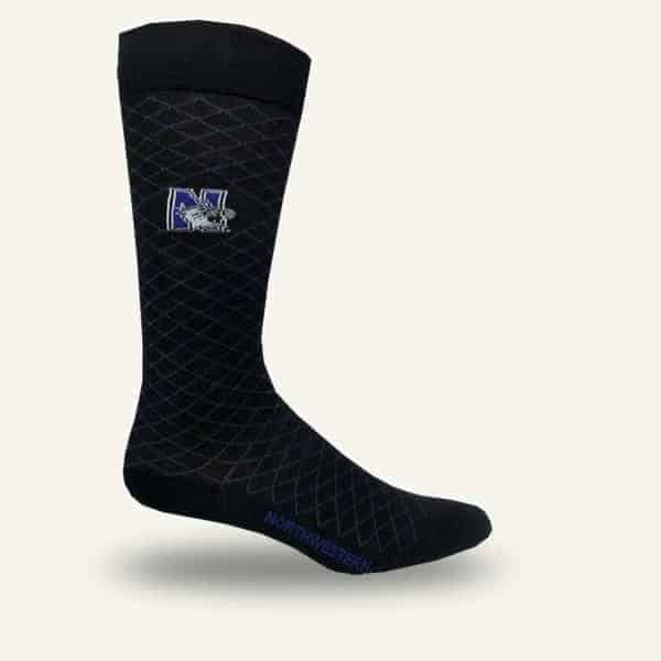 Northwestern Wildcats Black Textured with Accent of Purple Dress Socks with N-Cat Design