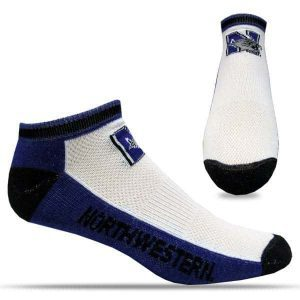 Northwestern University Wildcats Adult Tri-Color No Show Half Cushion Socks with Arch Support & Mesh Venting