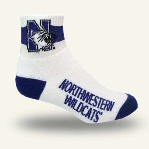 Northwestern University Wildcats Adult Full Cushion White Quarter Socks with Arch Support