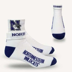 Northwestern University Wildcats Adult Full Cushion Folded White Quarter Crew Socks with Arch Support