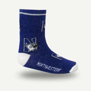 Northwestern Wildcats Purple Allover Print Flat Knit Crew Socks