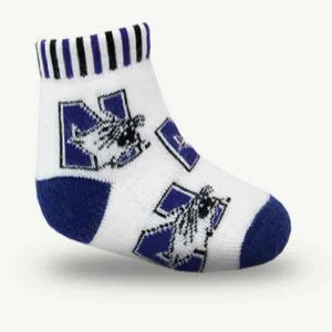 Northwestern Wildcats White Allover Print Full Cushion Knit Quarter Crew Socks