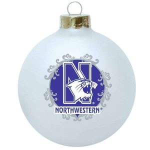 Northwestern University Wildcats White Christmas Ornament With N-Cat & Grey Accent Design