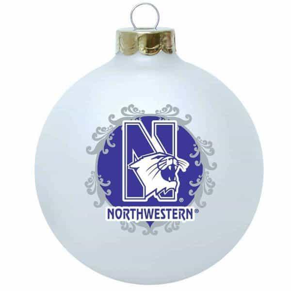 Northwestern Wildcats White Christmas Oarnment