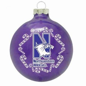 Northwestern University Wildcats Purple Christmas Bulb Ornament With N-Cat & Kane Design