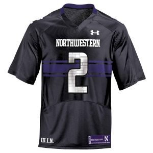 Northwestern Wildcats Youth Under Armour Black Replica Football Jersey with #2
