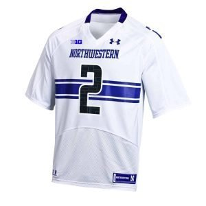 Northwestern Wildcats Youth Under Armour White Replica Football Jersey with #2