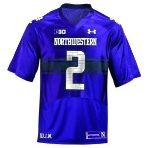 Northwestern Wildcats Youth Under Armour Purple Replica Football Jersey with #2