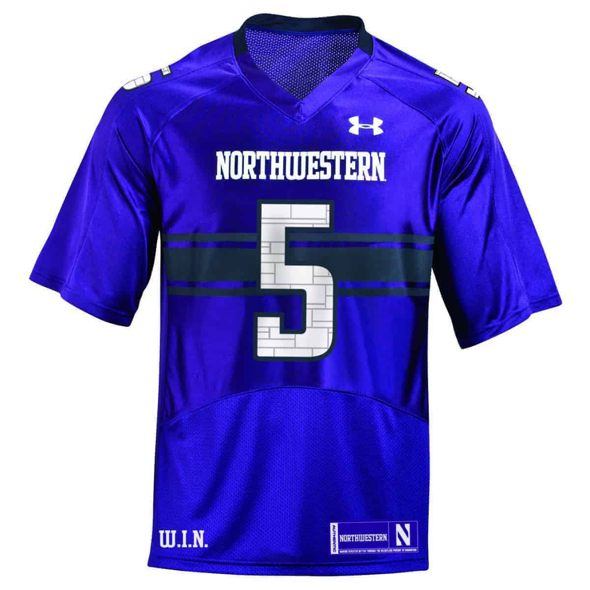 5ca3f5dcd Northwestern University Wildcats Youth Under Armour Purple Replica Football  Jersey with #5