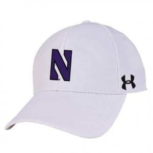 Northwestern University Wildcats Under Armour White Adjustable Velcro-back Hat with Stylized N Design