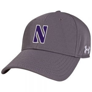 Northwestern University Wildcats Under Armour Grey Adjustable Velcro-back Hat with Stylized N Design