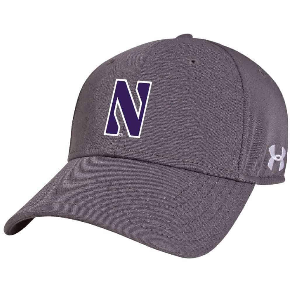 3dd57e8a4a7 Northwestern University Wildcats Under Armour Grey Adjustable Velcro-back  Hat with Stylized N Design