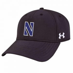 Northwestern University Wildcats Under Armour Black Adjustable Velcro-back Hat with Stylized N Design