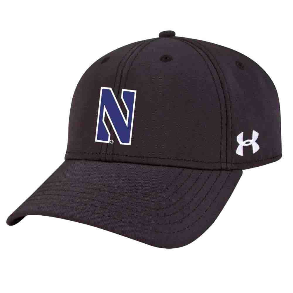 7d8535ff87b Northwestern University Wildcats Under Armour Black Adjustable Velcro-back  Hat with Stylized N Design