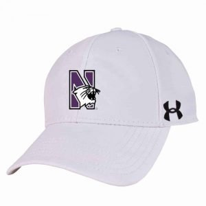 Northwestern University Wildcats Under Armour White Adjustable Velcro-back Hat with Arched Northwestern Design