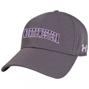 Northwestern Wildcats Under Armour Grey Adjustable Velcro-back Hat with Arched Northwestern Design