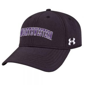 Northwestern Wildcats Under Armour Black Adjustable Velcro-back Hat with Arched Northwestern Design