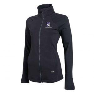 Northwestern Wildcats Under Armour Ladies Black Fullzip Light Weight Jacket