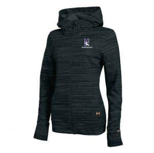 Northwestern University Wildcats Under Armour Ladies Black Marblized Fullzip Light Weight Jacket
