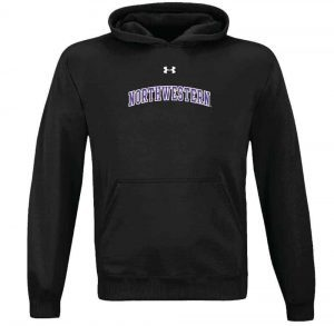 Northwestern University Wildcats Under Armour Black Fleece Hood with Printed Arched Northwestern Design