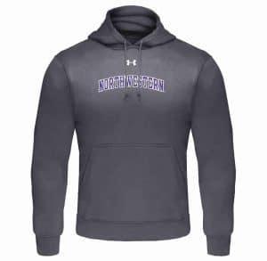 Northwestern University Wildcats Under Armour Graphite Fleece Hood with Printed Arched Northwestern Design
