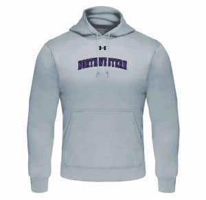 Northwestern University Wildcats Under Armour Silver Fleece Hood with Printed Arched Northwestern Design