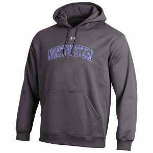 Northwestern Wildcats Under Armour Graphite Fleece Hood with Printed Arched Northwestern