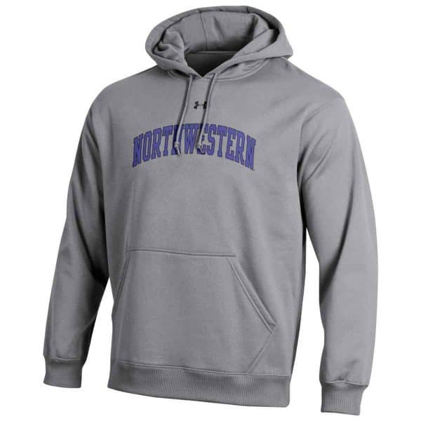 Northwestern University Wildcats Under Armour Grey Fleece Hood with Printed Arched Northwestern Design