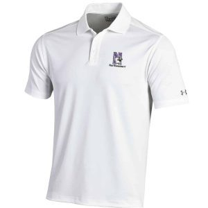 Northwestern Wildcats Under Armour Solid White Polo Shirt with Left Chest N-Cat Northwestern Embroidery