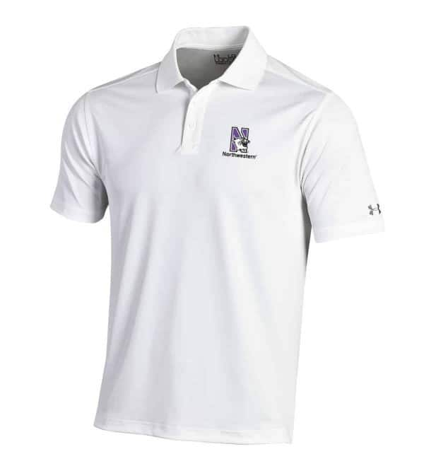 Northwestern University Wildcats Under Armour Solid White Polo Shirt with Left Chest N-Cat Northwestern Embroidery