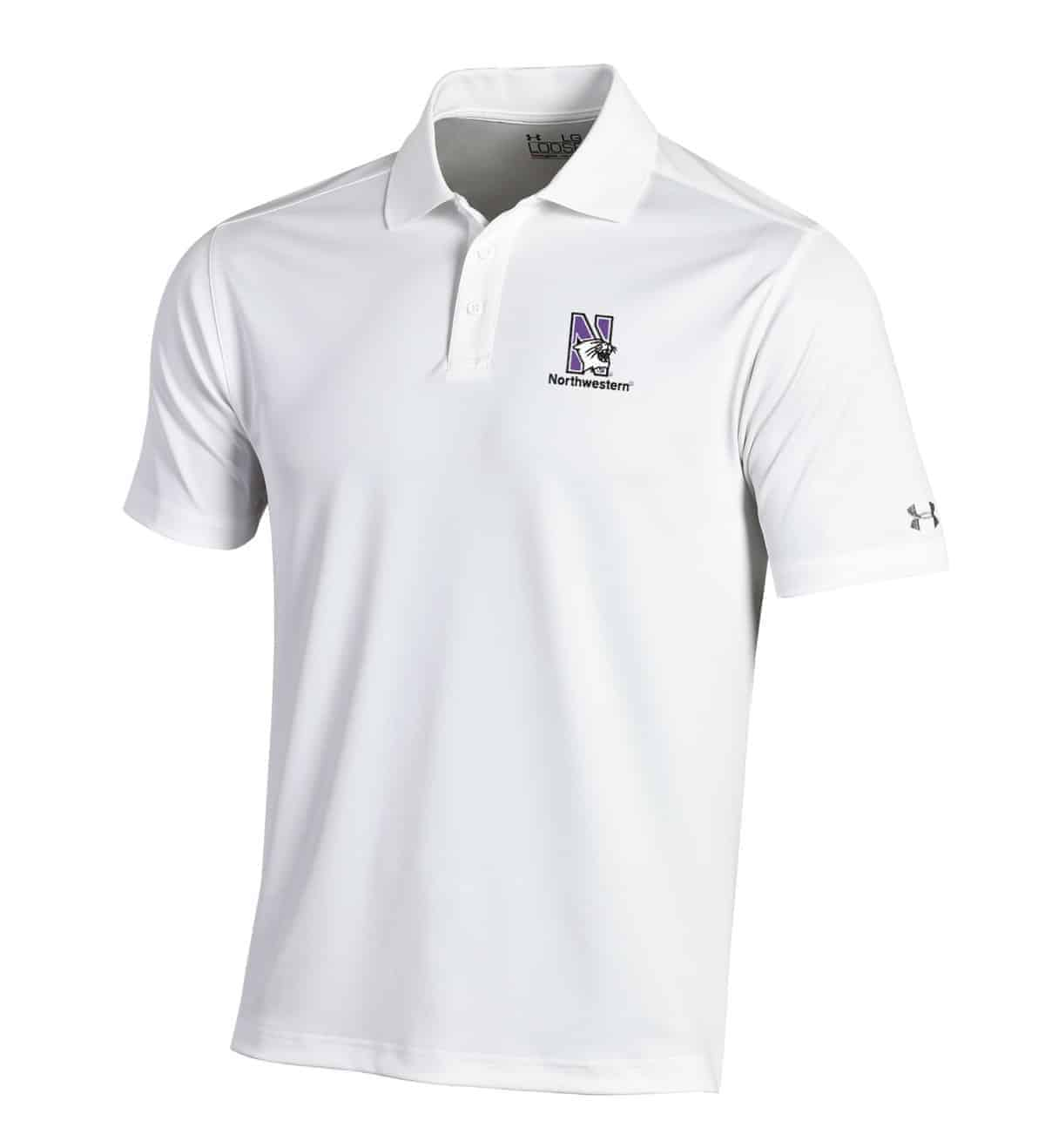 e70a1befa Northwestern University Wildcats Under Armour Solid White Polo Shirt with  Left Chest N-Cat Northwestern