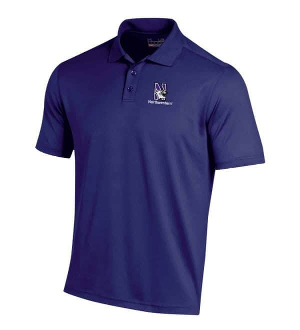 Northwestern Wildcats Under Armour Solid Purple Polo Shirt with Left Chest N-Cat Northwestern Embroidery