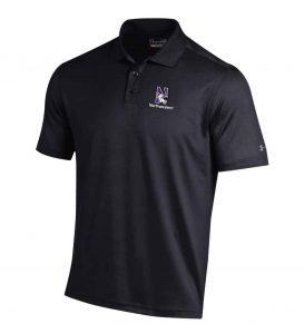 Northwestern University Wildcats Under Armour Solid Black Polo Shirt with Left Chest N-Cat Northwestern Embroidery