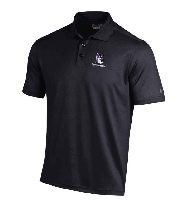 Northwestern Wildcats Under Armour Solid Black Polo Shirt with Left Chest N-Cat Northwestern Embroidery