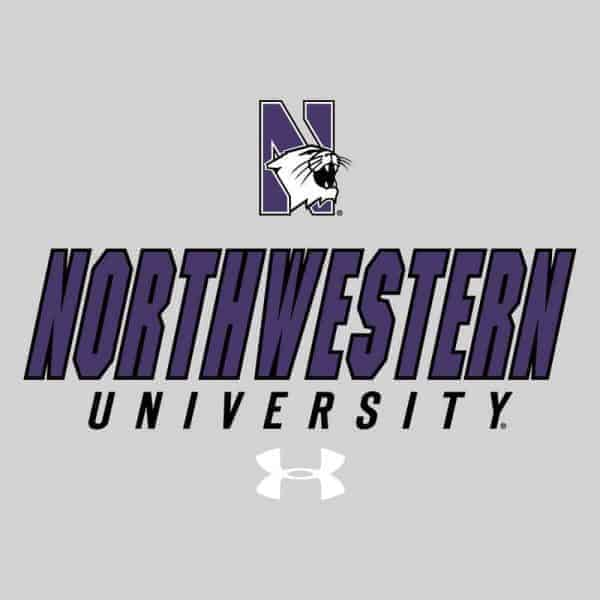 Northwestern University Wildcats Under Armour® Men's Charged Cotton® White Short-Sleeve Tee Shirt with Printed N-Cat Northwestern University Design