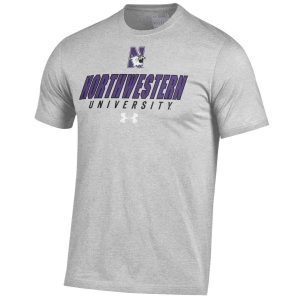 Northwestern Wildcats Under Armour® Men's Charged Cotton® Silver Grey Short-Sleeve Tee Shirt with Printed N-Cat Northwestern University Design