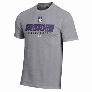 Northwestern Wildcats Under Armour® Men's Charged Cotton® Oxford Grey Short-Sleeve Tee Shirt with Printed N-Cat Northwestern University Design
