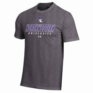 Northwestern Wildcats Under Armour® Men's Charged Cotton® Carbon Heather Short-Sleeve Tee Shirt with Printed N-Cat Northwestern University Design