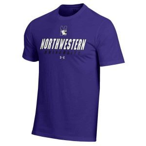 Northwestern Wildcats Under Armour® Men's Charged Cotton® Purple Short-Sleeve Tee Shirt with Printed N-Cat Northwestern University Design